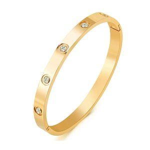 Gold Plated Crystal Bangle Bracelet